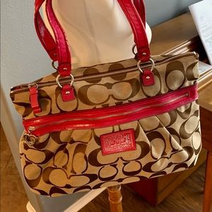 Coach brown and hot pink signature tote